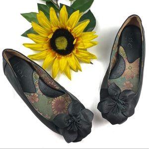 Born Leather Slip On Flats Floral Appliqué Black